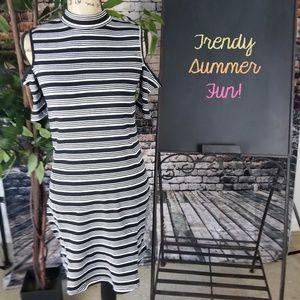 NWOT Forever 21 Striped Open-Shoulder Dress